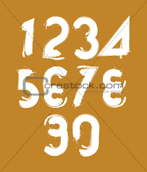 Calligraphic brush numbers, hand-painted white vector numeration