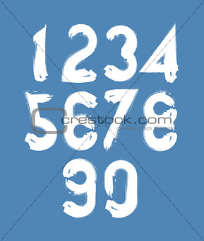 Calligraphic numbers drawn with ink brush, white vector numbers