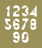 Vector stylish brush digits, handwritten numerals, white numbers
