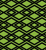 Geometric lined seamless pattern, colorful vector endless background. Symmetric decorative motif texture with intertwine rhombs created from black lines. Green. EPS8