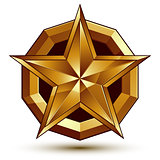 Royal golden geometric symbol, stylized golden star, best for us