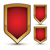 Branded glossy geometric symbols set, stylized red shield elemen