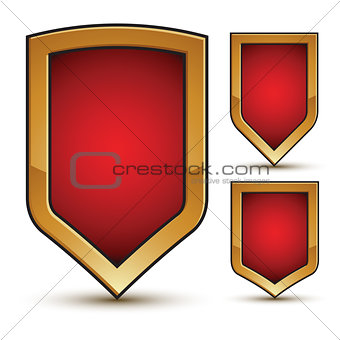 Branded glossy geometric symbols set, stylized red shield elemen