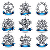 Set of silvery heraldic 3d glossy icons, best for use in web and