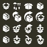 Packaging boxes icons vector set, pack simplistic symbols vector