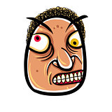 Wierd cartoon face, absolute crazy numskull portrait, vector ill