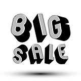 Big Sale advertising phrase made with 3d retro style geometric l