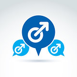 Speech bubble with a blue male sign, man gender symbol. Gay club