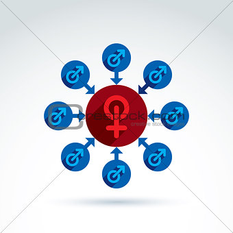 Blue male and red female signs connected with arrows, gender sym