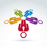 Teamwork and business team and friendship icon, social group, or