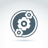 Gears and cogs system theme icon, vector conceptual stylish symb