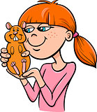 girl with hamster cartoon