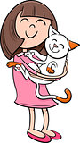 girl with kitten cartoon