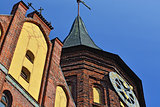 Tower of Konigsberg Cathedral closeup. Kaliningrad, Russia