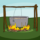 Cooking Soup in Campfire