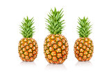 Pineapples with a white background.