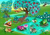 Funny animals on a river in the wood