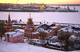 Sunset in winter Nizhny Novgorod