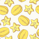 Tropical fruit seamless pattern with carambola