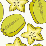 Fruit seamless pattern with green carambola