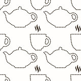 Contour of teapot and cup abstract seamless pattern