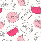 Pink outline seamless pattern with muffins