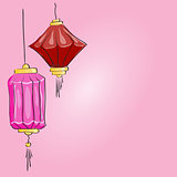 Vector drawing. Two Chinese lantern on a pink background
