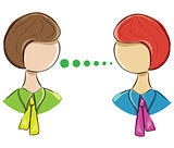 Vector icon of two women communicating on a white background