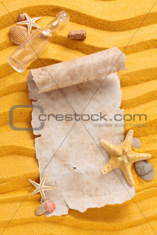 Ancient paper on sand.