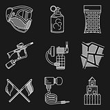 Set of white line vector icons for paintball