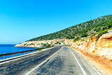 Mountain road on the sea coast in Turkey