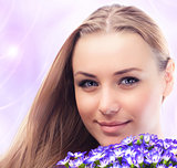Beautiful female face with flowers
