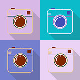 Hipster photo or retro camera icon with shadow. Flat style simple design.