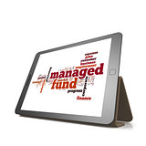 Managed fund word cloud on tablet