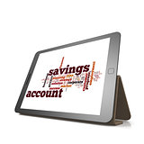 Savings account word cloud on tablet