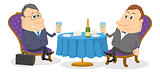 Two businessman near table, isolated