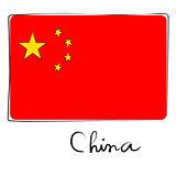 China flag doodle