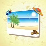 Picture of the sand beach landscape with palm branches on colorful background.