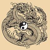 dragon holding yin yang symbol