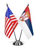 USA and Serbia - Miniature Flags.