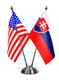 USA and Slovakia - Miniature Flags.