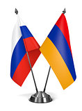 Russia and Armenia - Miniature Flags.
