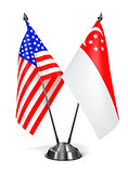 USA and Singapore - Miniature Flags.