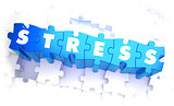 Stress - Word in Blue Color on Volume  Puzzle.