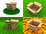 Set of Cardboard Boxes on The Grass Background.