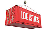 Logistics - Red Hanging Cargo Container.