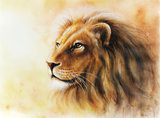 lion color painting profile portrait