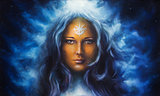woman goddess with long blue hair holdingn eye contact