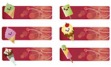 banners with kawaii food