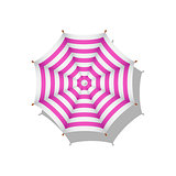 Pink and white striped beach umbrella